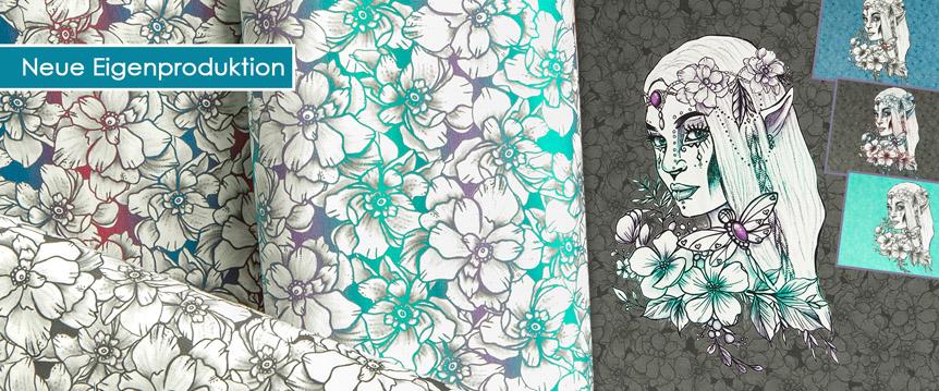 Elfis Art Jersey Eigenproduktion Stoff Panele und Meterware mit Elfen und Blumen