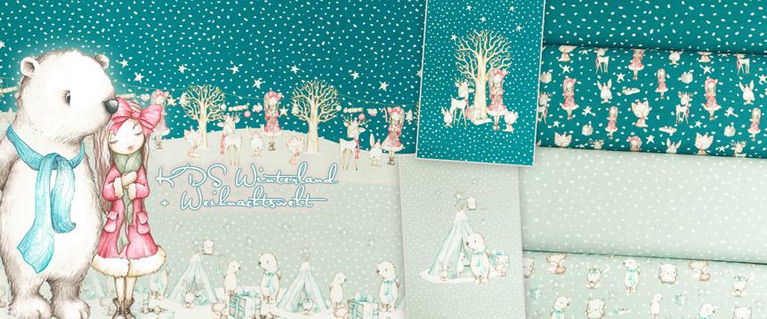 Jersey Stoffe Winterland und Weihnachtswelt Eigenproduktion Winter und Weihnachten