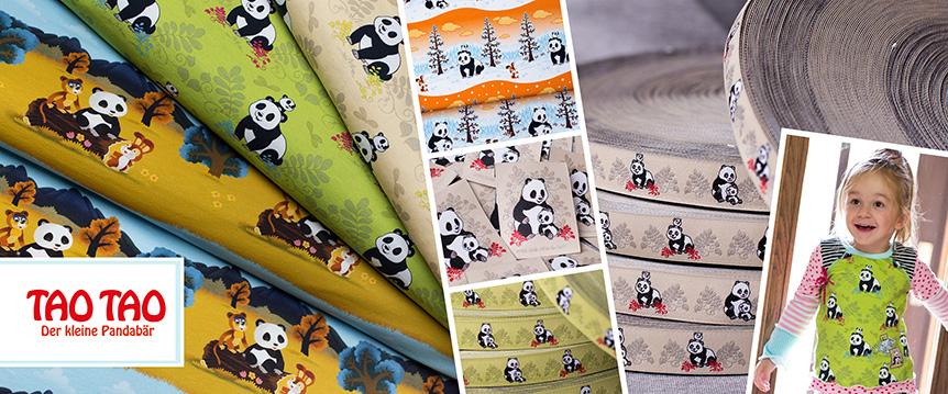 Tao Tao der kleine Pandabär - Stoffe, Webbänder und Webetiketten