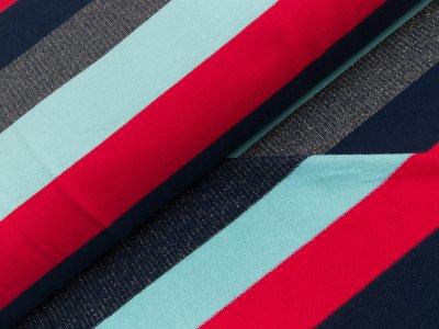 Baumwoll-Sweat Marie mit Lurex-Glitzer - breite Streifen - rot/blau/mint