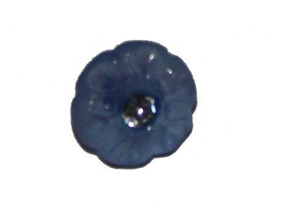 Blumenknopf mit Glitzerstein 20mm blau
