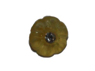 Blumenknopf mit Glitzerstein 20mm gelb