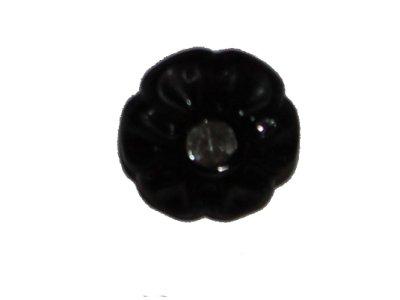 Blumenknopf mit Glitzerstein 11mm schwarz