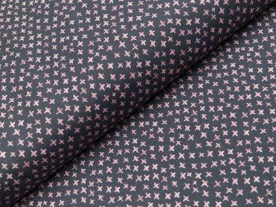 Jersey Swafing Mini Winter - kleine Kreuze - dunkles grau