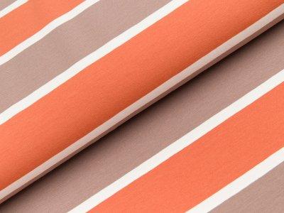 Jersey Swafing Lilly - breite und schmale Streifen - orange/braun