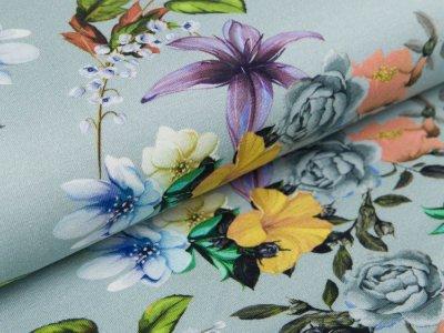 grau Jersey Blumen
