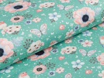 Jersey -  Rotkehlchen und Blumen - altmint
