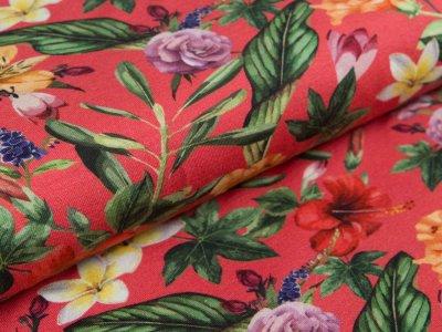 Jersey - Blumen - dunkles pink