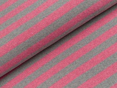 Leicht angerauter Strickstoff Lenn Swafing made in Italy - Streifen - meliert grau/rosa