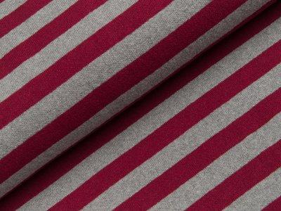 Leicht angerauter Strickstoff Lenn Swafing made in Italy - Streifen - meliert grau/bordeaux