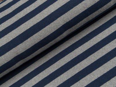 Leicht angerauter Strickstoff Lenn Swafing made in Italy - Streifen - meliert grau/dunkles blau
