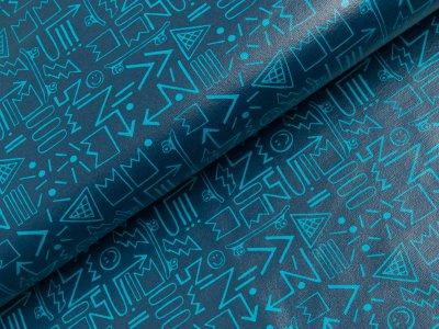 Beschichteter Jersey Reiko Swafing - Pfeile - dunkles blau