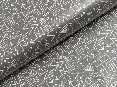 Beschichteter Jersey Reiko Swafing - Pfeile - dunkles grau