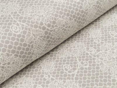Jacquard Strickstoff Ben - Spitzenoptik Blumen - grau/weiß