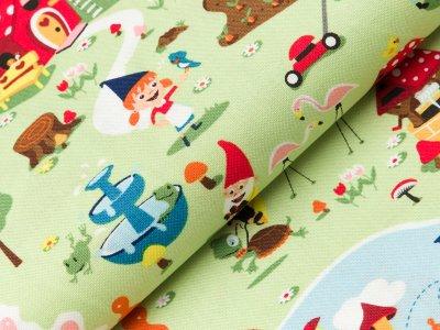 Gew. Baumwollstoff Swafing Gnome and Gardens by Riley Blake - Zwergenland - grün