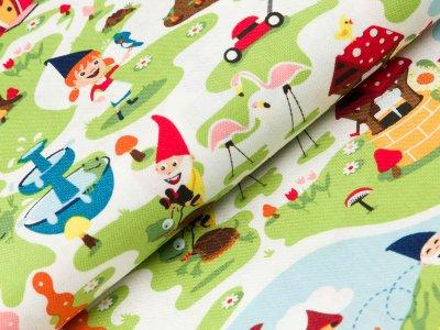 Gew. Baumwollstoff Swafing Gnome and Gardens by Riley Blake - Zwergenland - grün/weiß