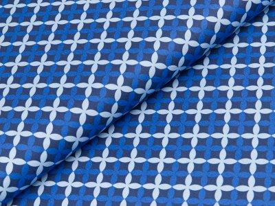 Gew. Baumwollstoff Swafing Franziska - Blumenrauten - blau