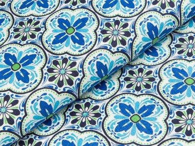 Bedruckter Leinenstoff Swafing Maria - Blumen - blau