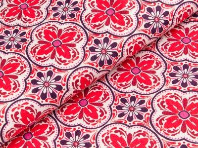 Bedruckter Leinenstoff Swafing Maria - Blumen - rot