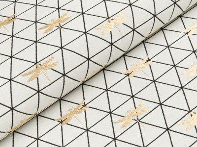 Dekostoff mit Metallic-Look Swafing Merlin - Libellen auf geometrischen Muster - wollweiß/gold