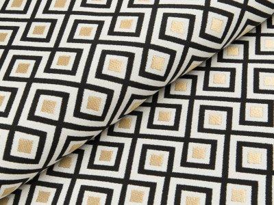 Dekostoff mit Metallic-Look Swafing Merlin - geometrisches Muster, eckig - wollweiß/schwarz/gold