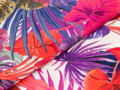 Viskose Webware Swafing Kathrin - große Blätter - weiß  lila/pink/orange