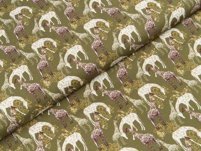 Baumwoll Popeline Swafing Florian - Giraffen - olivgrün