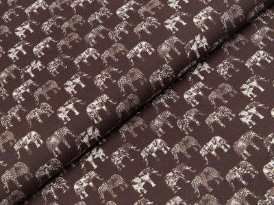 Baumwoll Popeline Swafing Florian - Elefanten - dunkles braun