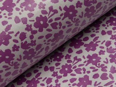 Beschichteter Jersey Reiko Swafing - Blumen - grau
