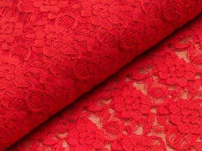 Spitze Swafing Lace - Blumen - rot/transparent