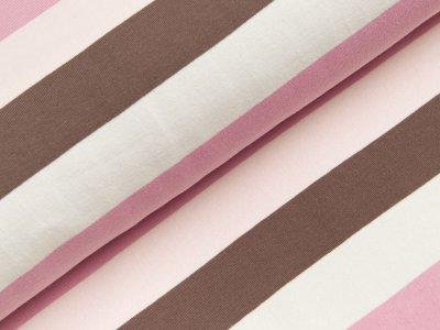 Baumwoll-Sweat Marie - breite Streifen - rosa/braun