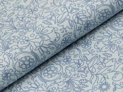Jersey Swafing Estelle - Blumenranken - helles blau
