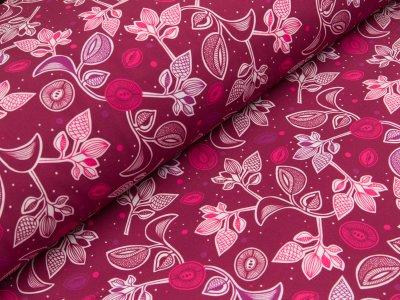 Jackenstoff Softshell - Blätterranken - fuchsia