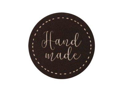 Applikation / Kunstleder-Label - Made with Love - braun