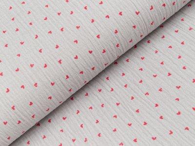 Baumwoll Musselin Double Gauze - kleine Herzen - grau