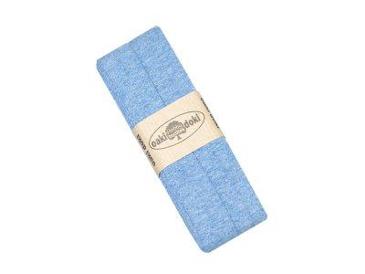 Jersey Schrägband Oaki doki gefalzt 20 mm x 3 m - meliert blau