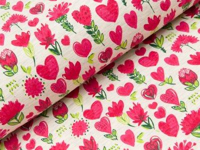 Sweat French Terry  - Blumen und Herzen - meliert beige