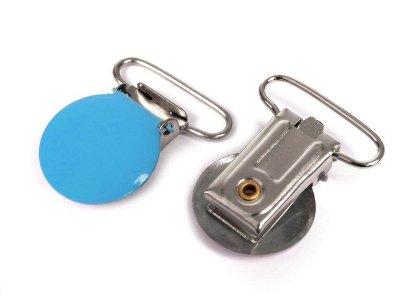 Hosenträgerclip/Schnullerkettenclip 2 Stück - Kreis - blau