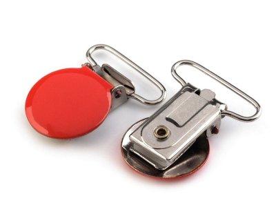 Hosenträgerclip/Schnullerkettenclip 2 Stück - Kreis - rot