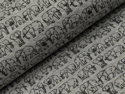 Rautenstepp Double Face - Elefanten - meliert grau