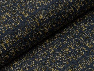 Rautenstepp Double Face - Elefanten - meliert dunkles blau