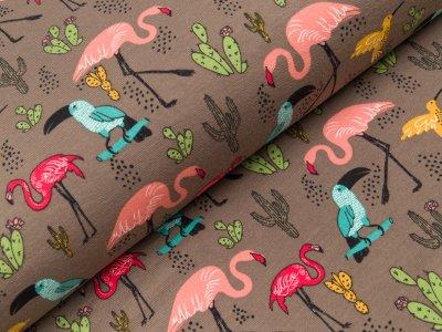 Sweat French Terry - Flamingos und Kakteen - braun
