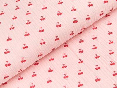 Baumwoll Musselin Double Gauze - Kirschen - rosa