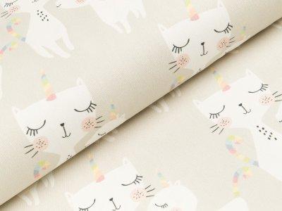 Canvas Digitaldruck - Einhorn-Katzen - beige