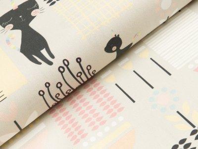Canvas Digitaldruck - Katzen und Blumen -  beige
