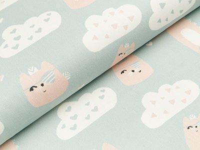 Canvas Digitaldruck - Katzen mit Augenklappe und Wolken - blaugrau
