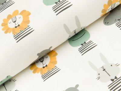 Canvas Digitaldruck - verschiedene Tiergesichter -  wollweiß