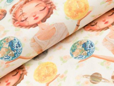 Canvas Digitaldruck - Mädchen und Planeten - wollweiß