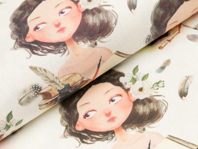 Canvas Digitaldruck - Mädchen und Briefe - wollweiß