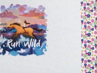 Jersey Digitaldruck PANEL ca. 75 x 140 cm - Spirit Wild und Frei - Lucky und Spirit - weiß